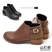 靴子 後麂皮拼接側釦短靴