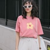 短袖T恤-純棉花朵印花簡約女上衣2色73xn28【巴黎精品】