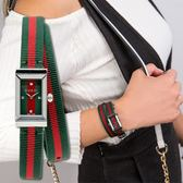 Gucci G-FRAME 漾彩紅綠尼龍雙環腕錶 YA147503 熱賣中!