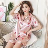 睡衣女夏季性感短袖套裝兩件套夏天韓版薄款冰絲綢家居服可愛大碼 晴光小語