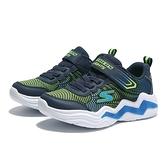 SKECHERS 休閒鞋 ERUPTERS IV 藍綠 鋸齒底 黏帶 發光 燈鞋 中童 (布魯克林) 400125LNVLM