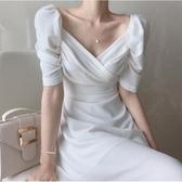 雪紡洋裝 夏季韓國chic法式顯瘦v領小心機收腰泡泡袖雪紡連身裙長 韓流時裳