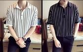長袖T恤男士polo衫春夏季短袖體恤韓版潮流帥氣條紋學生寬鬆男裝