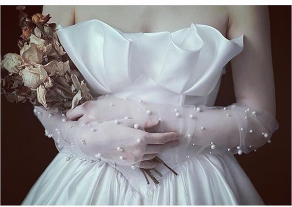 新娘手套白色婚紗珍珠網紗手套白紗長款