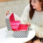 新款化妝包雙層大容量簡約化妝品收納箱整理盒大號家用化妝箱手提 【PINKQ】