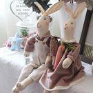 美式鄉村復古布藝情侶兔子擺件 結婚生日禮物兒童房擺設 Igo  coco衣巷