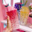 隨身杯正韓卡通少女吸管杯小清新西瓜雙層制冷冰酷杯塑料冷飲果汁隨手杯( 中秋烤肉鉅惠)