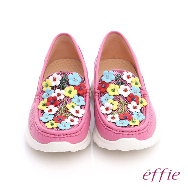 effie 輕量抗震 全真牛皮蕾絲花布平底鞋  桃粉紅