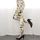 Victoria 低腰印花窄直筒褲-女-黃色-VW214733