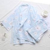 日式紗布純棉春夏薄款睡衣女可愛甜美和服家居服套裝月子服 居享優品