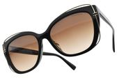 Tiffany&CO.太陽眼鏡 TF4148F 8001-3B (黑-漸層棕鏡片) 華麗T字款 墨鏡 # 金橘眼鏡