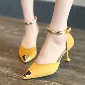 歐美新款尖頭低跟一字扣帶淺口女鞋春秋百搭工作鞋細跟高跟鞋