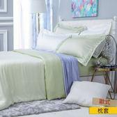 HOLA 雅緻天絲素色歐式枕套 2入 輕碧