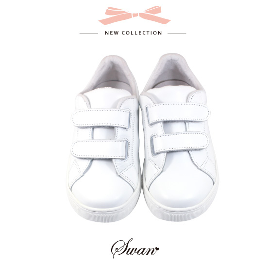 Swan天鵝童鞋-全真皮簡約素色中童休閒鞋3858-白