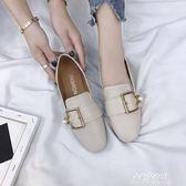 單鞋女平底鞋夏季新款韓版一腳蹬奶奶豆豆鞋chic小皮鞋潮  朵拉朵衣櫥