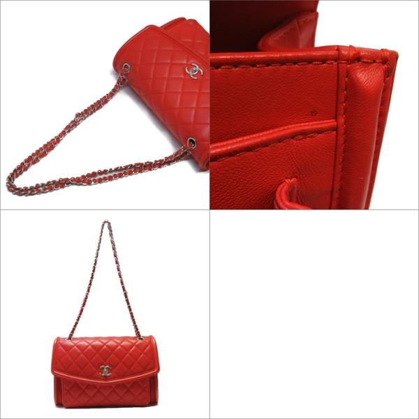 CHANEL 香奈兒 紅色羊皮菱格紋鍊條肩背斜背包 兩用包Flap Shoulderbag 【BRAND OFF】