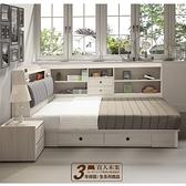 日本直人木業-極簡風白榆木5尺雙人收納兩抽床組搭配床邊收納櫃