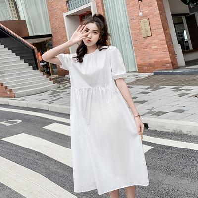 小尺碼洋裝長裙~韓國格子長款連身裙女韓版寬松顯瘦復古格短袖長裙DC1F08莎菲娜