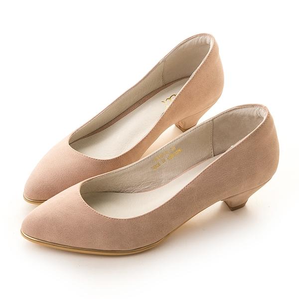 amai百搭素面金屬夾心尖頭低跟鞋 粉