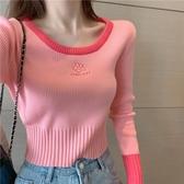 溫柔風針織衫秋裝新款女粉色長袖氣質上衣短款修身百搭套頭毛衣潮