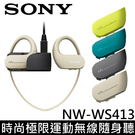 SONY 4GB 時尚極限運動無線隨身聽 NW-WS413 ★限量贈USB充電器 防水等級 IP65/ IP68 防海水設計 3分快充