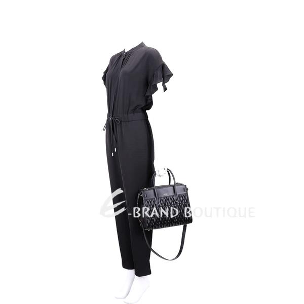 FURLA Pin Cometa 小款 絎縫皮革雙層手提兩用包(黑色) 1920048-01