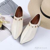 懶人鞋 白色小皮鞋女尖頭百搭懶人一腳蹬韓版粗跟單鞋女中跟 探索先鋒