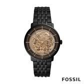 FOSSIL CHASE 黑色不鏽鋼透視機械男錶 42mm