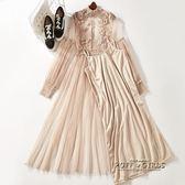 姐弟故事2018夏季新品立領長袖純色蕾絲兩件套洋裝女7248-38     泡芙女孩輕時尚
