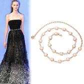 珍珠腰鍊女士時尚百搭腰帶裝飾連身裙