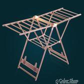 鋁合金晾衣架落地折疊室內外陽臺家用翼型移動簡易寶寶尿布曬被架    color shopYYP
