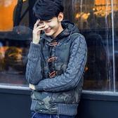 迷彩外套-時尚麻花針織拼接男連帽外套2色72d33[時尚巴黎]