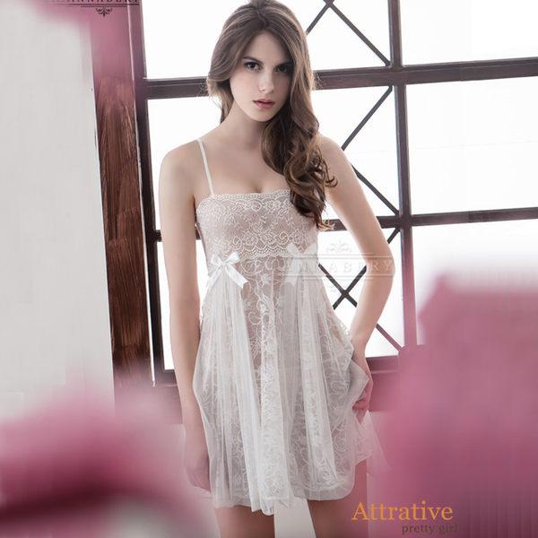 大尺碼睡衣~Annabery純白透視雙層蕾絲二件式性感睡衣《生活美學》