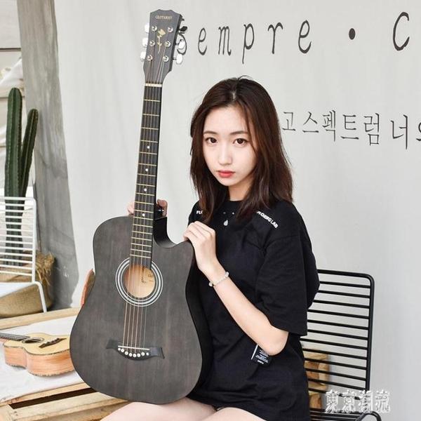 吉他 初學者38寸成人入門練習木吉他 學生民謠吉他樂器 zh4515『東京潮流』