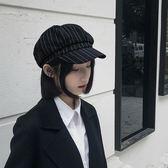帽子女春秋軟妹復古條紋英倫八角貝雷帽韓版百搭報童蓓蕾帽時尚潮  電購3C