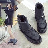 雪靴 2017冬季新款韓國加絨平底防滑靴子
