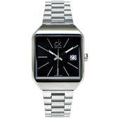 CK Calvin Klein 個性風格極簡手錶(K3L33161)-黑面X銀色/32mm