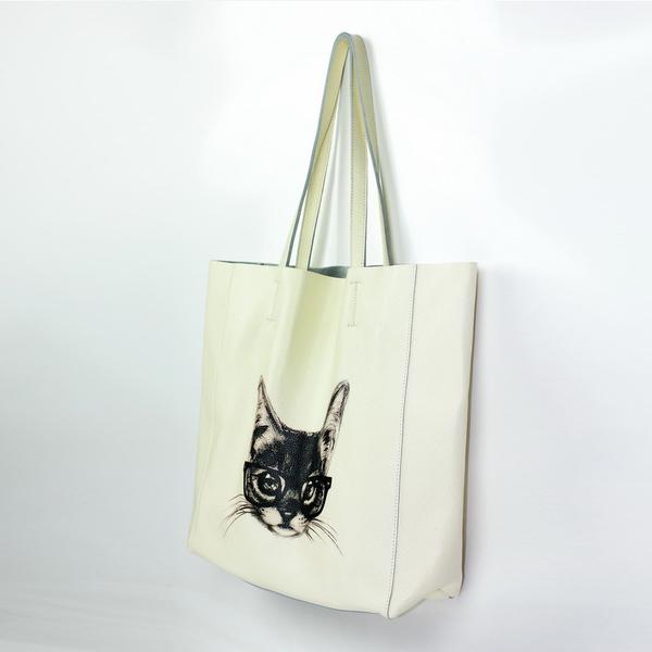 真皮托特包-肩背米白牛皮貓咪女手提包73vi21【時尚巴黎】