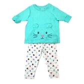 Carter s卡特 長袖T恤上衣+長褲 二件組 綠小鼠   女寶寶套裝(嬰幼兒/兒童/小孩)