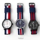 手錶 英倫學院厚實帥氣條紋帆布錶帶腕錶 ...