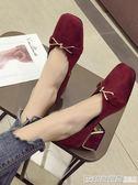 紅色高跟鞋女2019春新款韓版百搭氣質單鞋方頭網紅抖音學生粗跟 印象家品旗艦店
