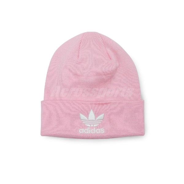 adidas 毛帽 Trefoil Beanie 男女款 三葉草 經典 基本款 毛線帽 粉 白 【ACS】 DH4299