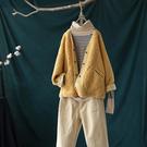 柔和軟糯單色V領羊羔絨外套棉服寬鬆長袖上衣/設計家Y7949