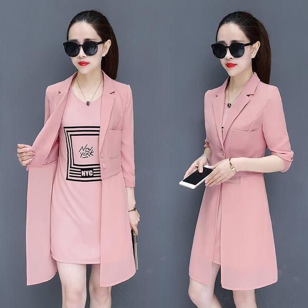 限時38折 韓系時髦雪紡連身裙OL氣質外套套裝長袖裙裝