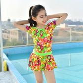 新款兒童游泳衣 女孩連體三角裙式保守中大童加大碼女童泳裝 依夏嚴選