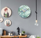 玻璃北歐掛鐘現代簡約家用時鐘大理石英鐘表客廳大氣個性創意時尚 雙12全館免運