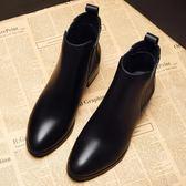 新款季高跟短靴女粗跟中跟馬丁靴尖頭切爾西靴子加絨學生