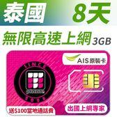 【TPHONE上網專家】泰國 8天無限上網 AIS當地原裝卡 不須實名 插卡即用 贈送$100當地通話費