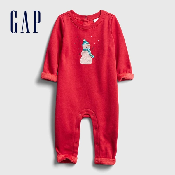 Gap嬰兒 暖冬小雪人刺繡剪毛絨一體式包屁衣 650208-熱情紅