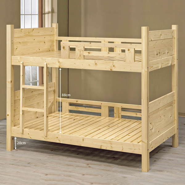 【森可家居】松木全實木雙層床 8SB095-3 木紋質感 上下舖